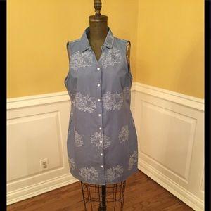 Nina Leonard Blue Jean Dress With Floral Design